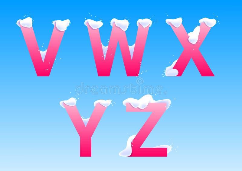 v, W, X, Y,与雪盖帽的Z信件 库存图片