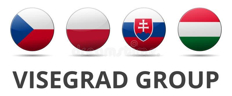 V4 σημαία χωρών ομάδας του Visegrad απεικόνιση αποθεμάτων