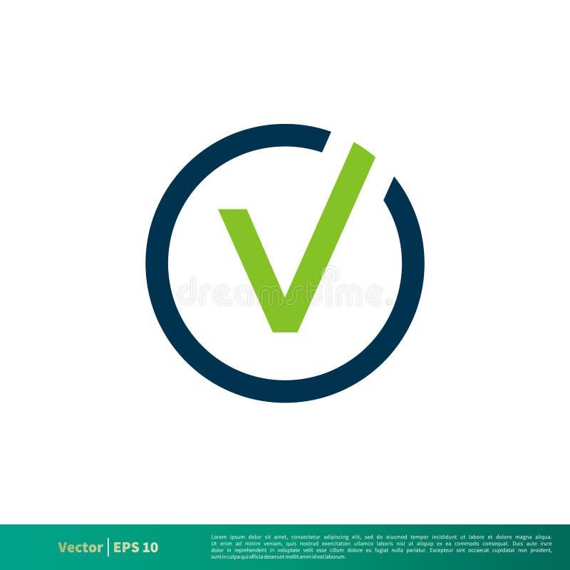 V дизайн иллюстрации шаблона логотипа вектора контрольной пометки письма и значка круга r иллюстрация вектора