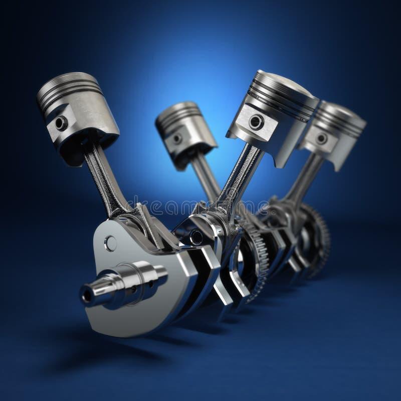 V4引擎活塞和嵌齿轮在蓝色背景 库存例证