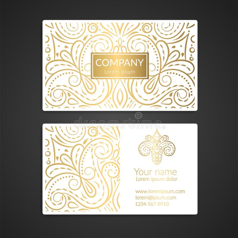 White and gold luxury business card design. vector illustration
