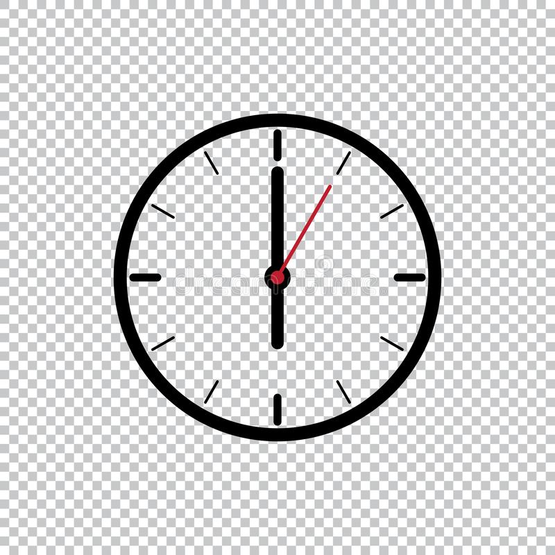 Six o'Clock flat style icon template isolated on transparent background, Black clock icon vector illustration. vector illustration