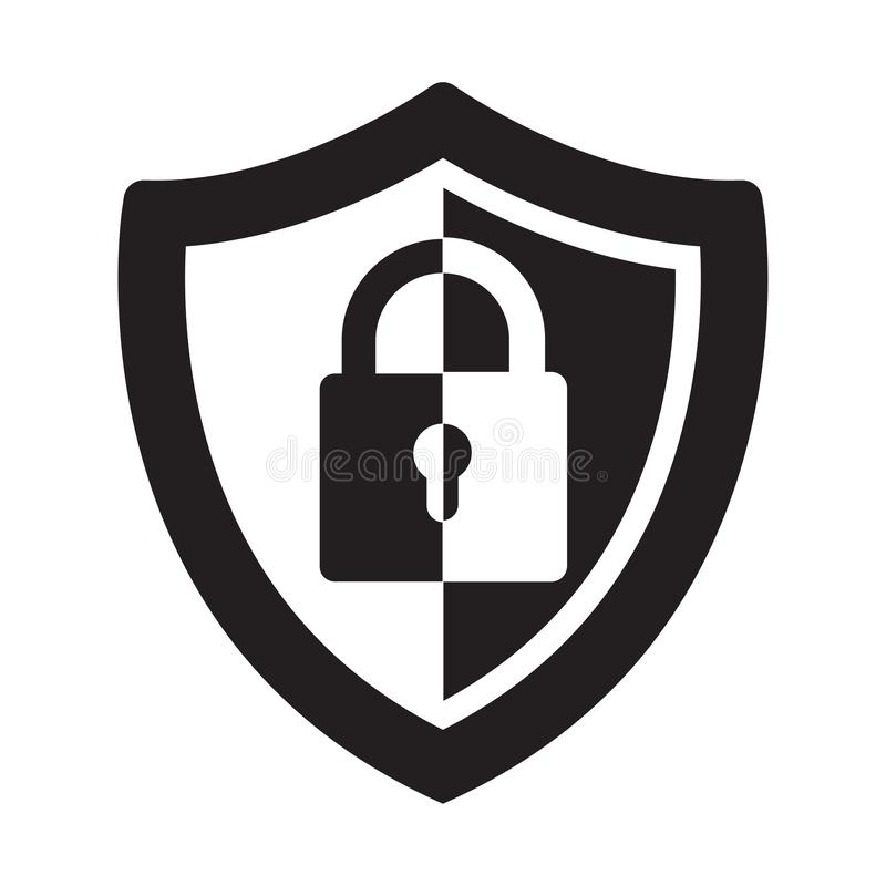Abstract security vector icon illustration isolated on black background. Shield security icon. Lock security icon. royalty free stock photography