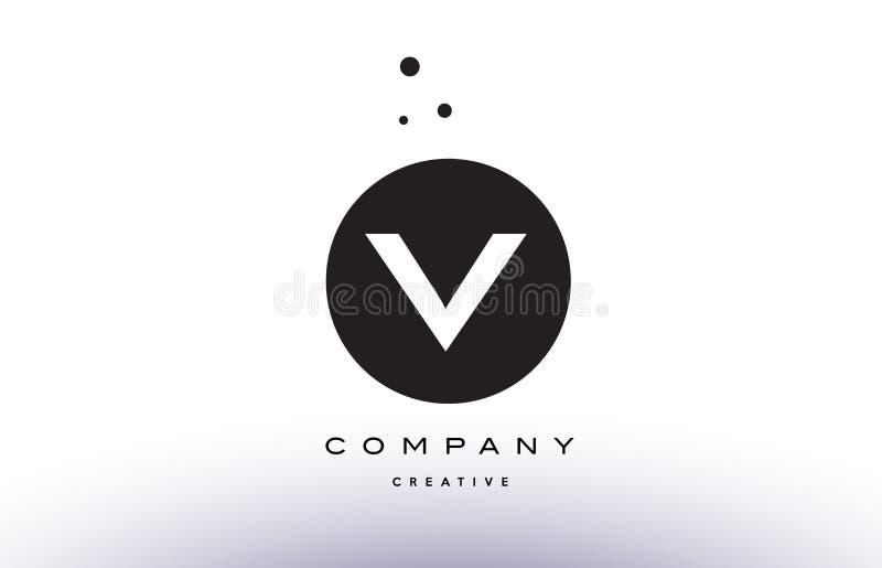 V Alphabet Letter Logo Icon Simple Black White Circle Dots Stock