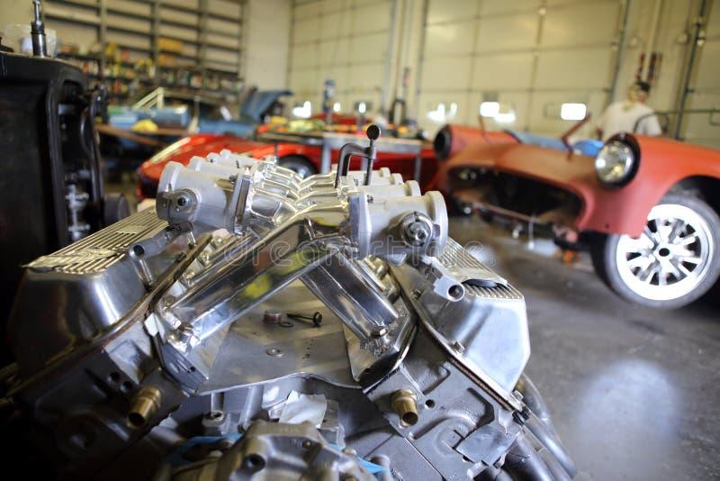 V8 Aluminum racing engine. Inside a automotive garage royalty free stock image