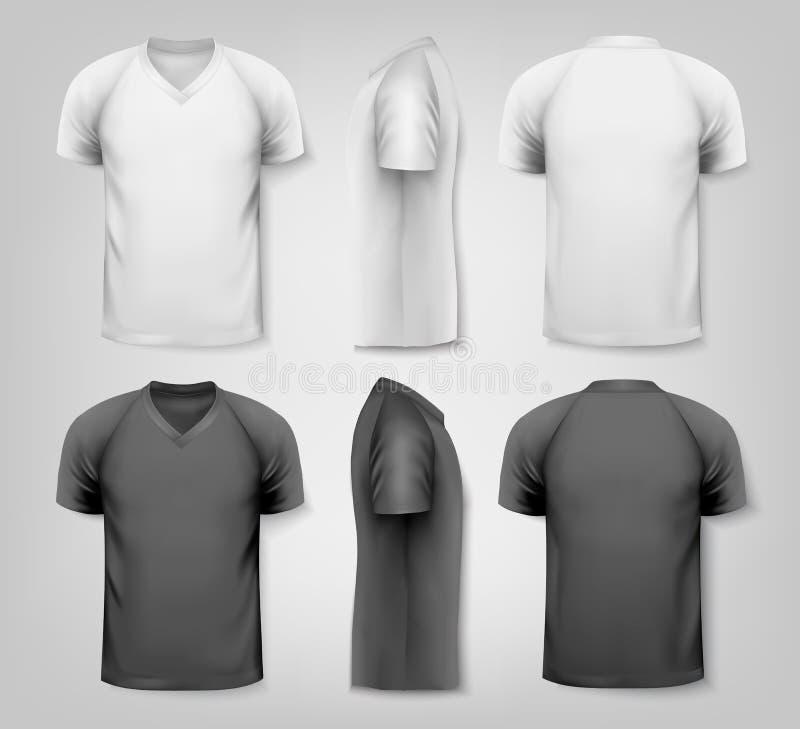 V-Ausschnitts-T-Shirts mit Beispieltextraum stock abbildung