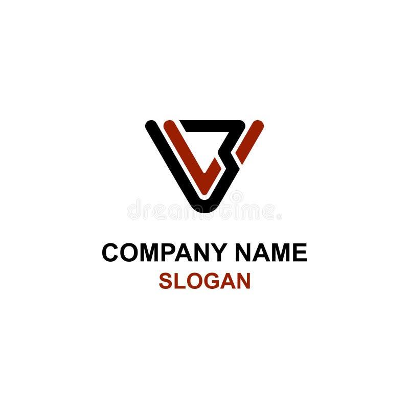 V3 brieven aanvankelijk embleem vector illustratie