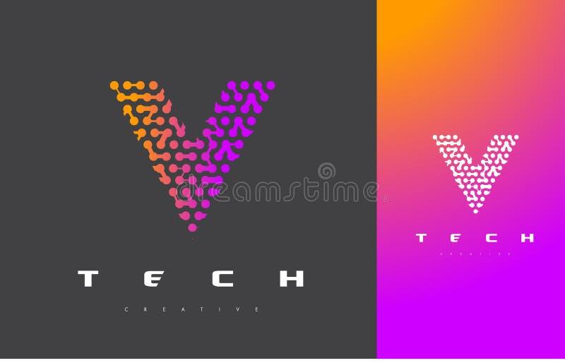 V Buchstabe Logo Technology Verbundener Dots Letter Design Vector vektor abbildung