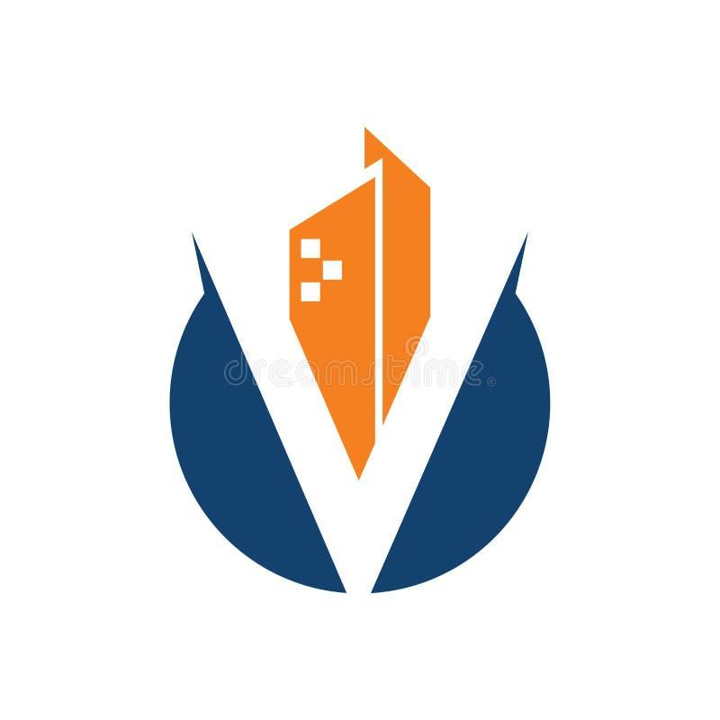 V-Buchstabe-Turm-Gebäude-Grundstück-Stadt Logo Icon stock abbildung