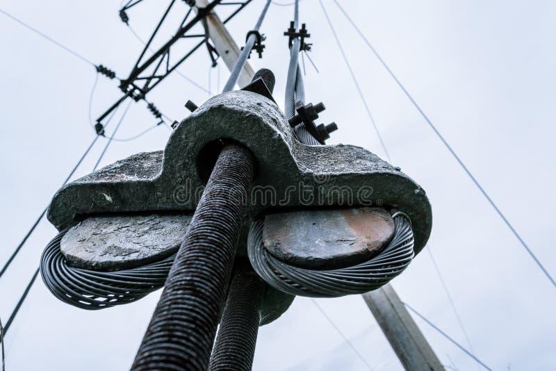 220v cable europejskiego organu typu elektrycznego Filar Makro- strzelanina obraz stock