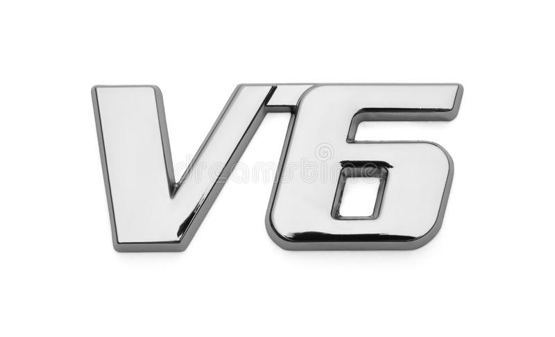 V6 Car Chrome Logo. Chrome V6 Car Emblem Isolated on White stock illustration