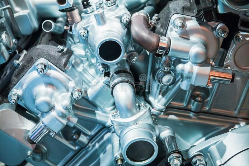 Cylinder Block And Blower Pipe  V12 Engine Stock Photo