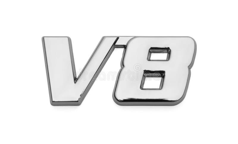 V8 Chrome-Autoembleem stock afbeeldingen