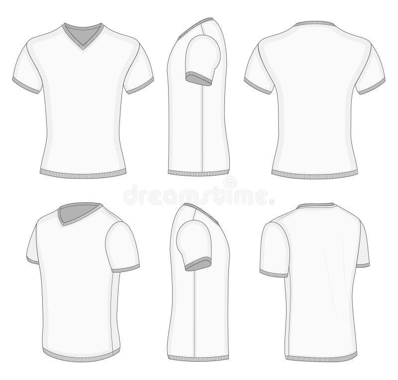 V-cou court blanc de T-shirt de la douille des hommes. illustration libre de droits