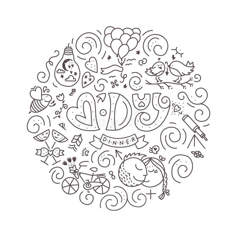 V - DagMATSTÄLLE stock illustrationer