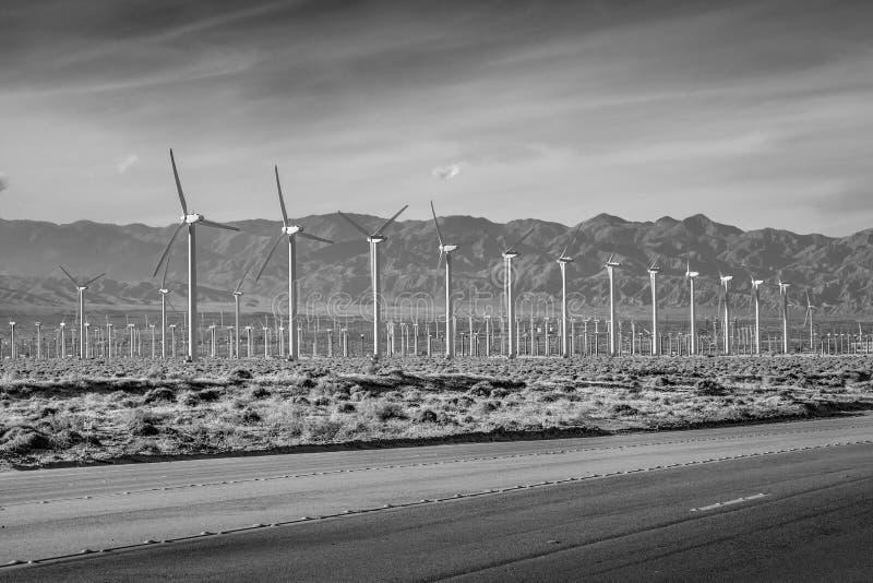 V?derkvarnen parkerar av Palm Springs - KALIFORNIEN, USA - MARS 18, 2019 arkivbilder