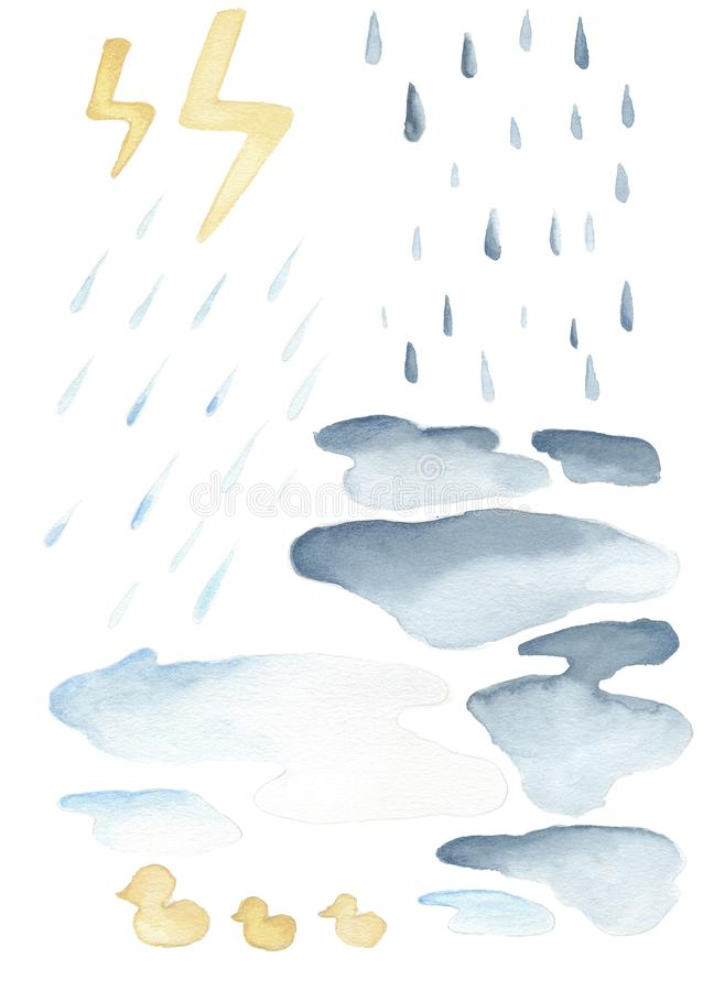 V?derupps?ttningen objekt som beskriver typer av väder royaltyfri illustrationer