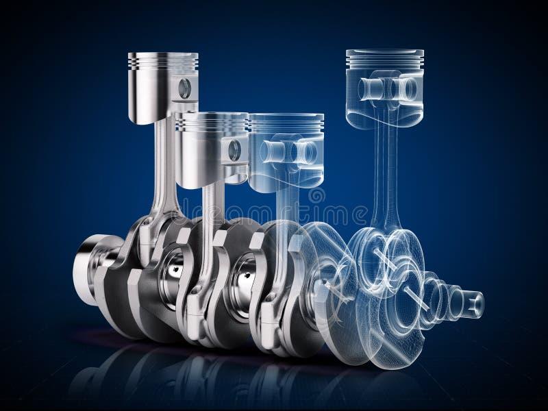 V4 engine pistons and crankshaft on blue background vector illustration
