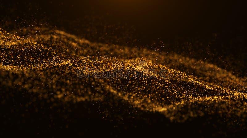 V?g av partiklar abstrakt partikel Datavisualization digital abstrakt bakgrund tolkning 4k arkivbild