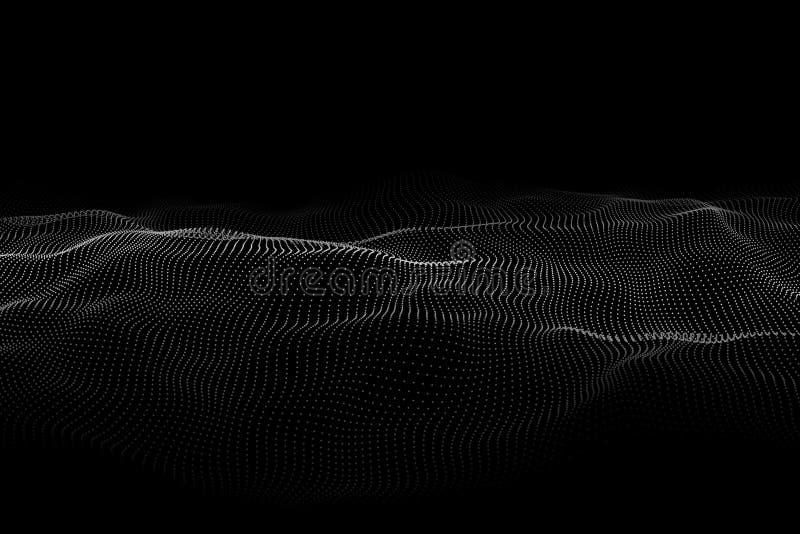 V?g 3d V?g av partiklar Futuristisk punktv?g Design f?r affisch Stora data ocks? vektor f?r coreldrawillustration royaltyfri illustrationer