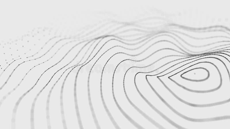V?g 3d V?g av partiklar gl?dande abstrakt digital bakgrund f?r partiklar 3D Datateknologiillustration Stor datavisualization royaltyfri illustrationer
