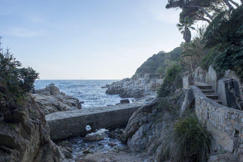V?garna av Ronda i Lloret de Mar, Costa Brava royaltyfria foton