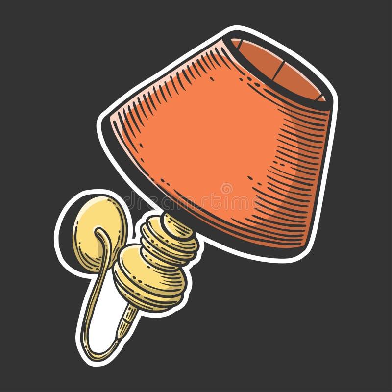 V?gglampa Vektorbegrepp i klotter och att skissa stil Utdragen illustration för hand för utskrift på T-tröja, vykort vektor illustrationer