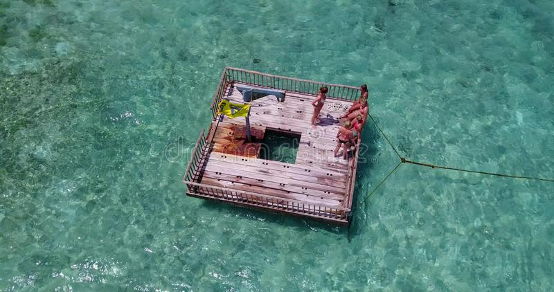 V09201 group of young beautiful girls sunbathing on pontoon with drone aerial flying view in aqua blue clear sea water. Group of young beautiful girls sunbathing royalty free stock image