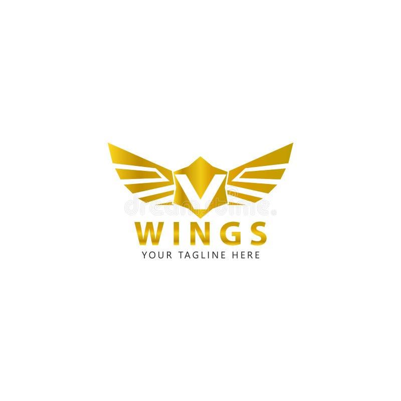 V initial avec le logo d'ailes d'or est une conception moderne illustration libre de droits