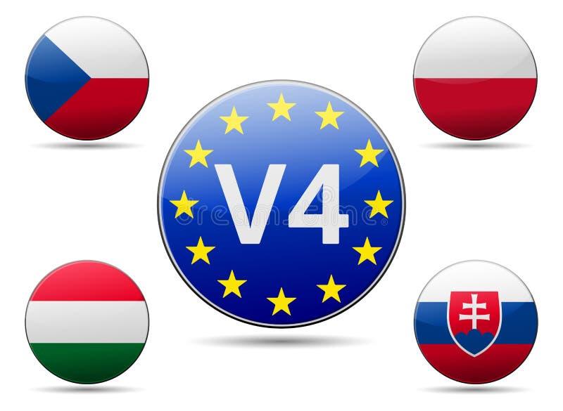 V4 kraju Wyszehradzka grupowa flaga ilustracja wektor