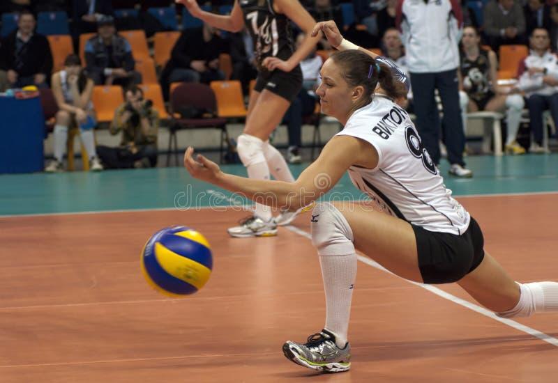 V. Kuzyakina (8) miss a ball royalty free stock photos