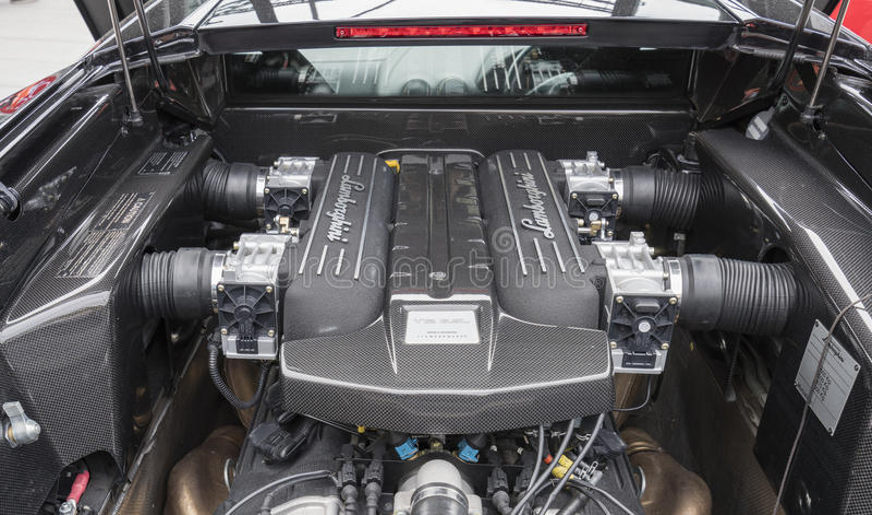 V12 Lamborghini Murcielago引擎  免版税图库摄影