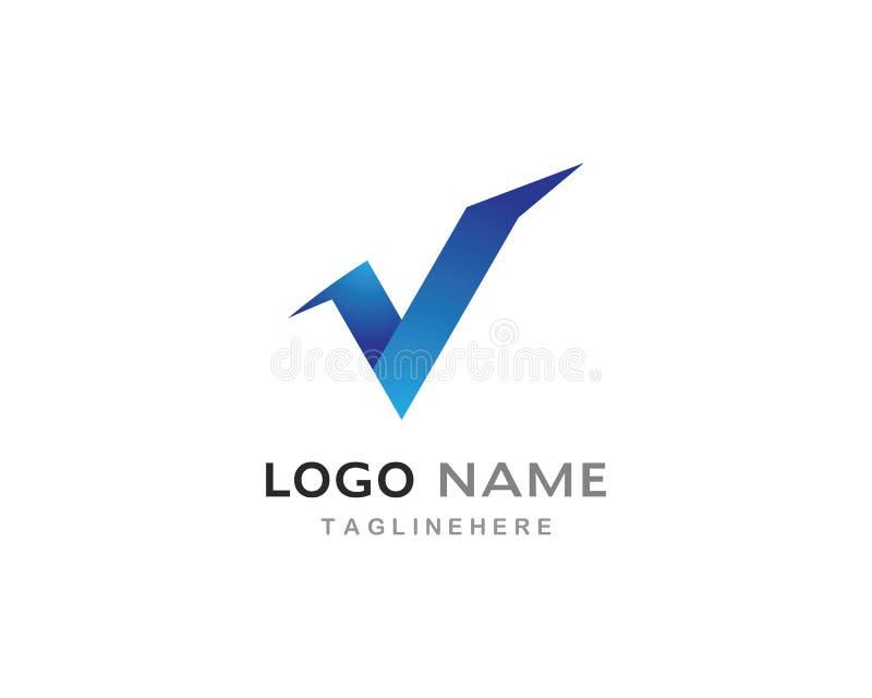 V letra Logo Template ilustração stock