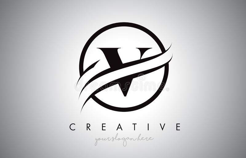 V Letter Logo Design with Circle Swoosh Border and Creative Icon Design. V Letter Icon Logo Design with Circle Swoosh Border and Black Colors. Creative V Design vector illustration