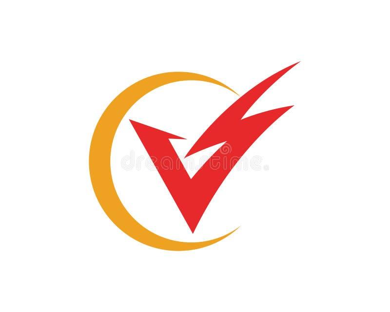 V Letter Lightning Logo Template royalty free illustration