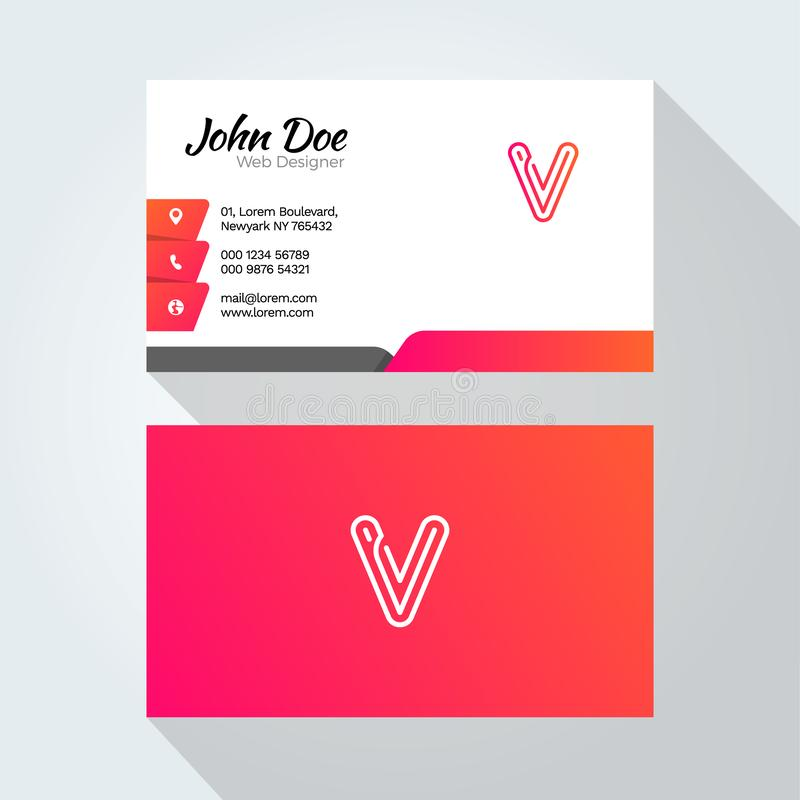 V Letter Modern Minimal Abstract Alphabet Business card design template stock illustration