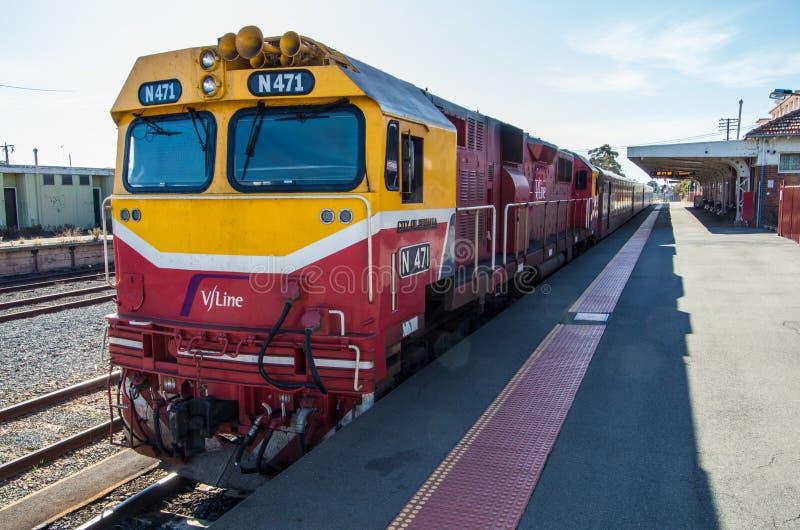 V/Line train at Shepparton railway station, Australia stock photo