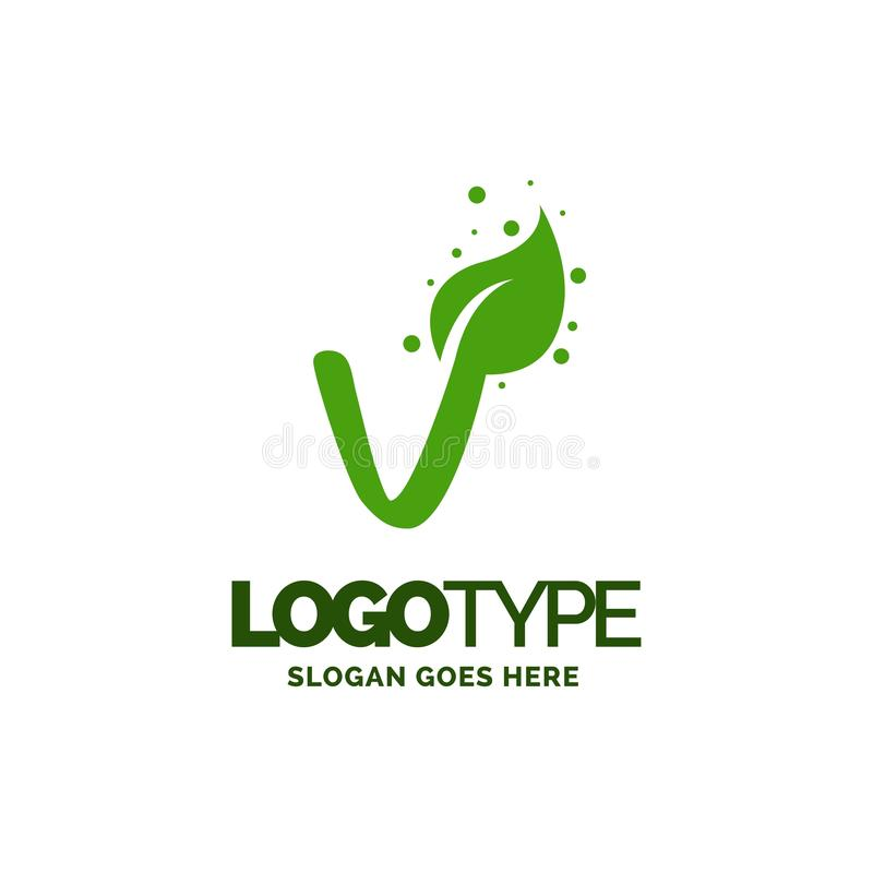 V logo with Leaf Element. Nature Leaf logo designs, Simple leaf. Logo symbol. Natural, eco food. Organic food badges in vector. Vector logos. Natural logos with royalty free illustration