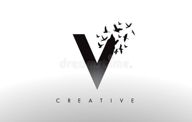 V Logo Letter con la multitud de los pájaros que vuelan y que se desintegran de libre illustration