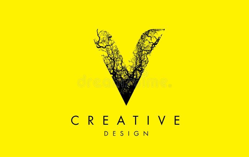 V Logo Letter Made From Black-Boomtakken royalty-vrije illustratie