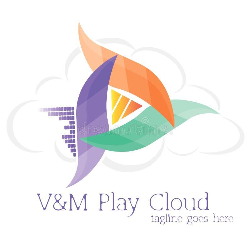 V&M戏剧云彩商标 音乐播放器 免版税库存图片