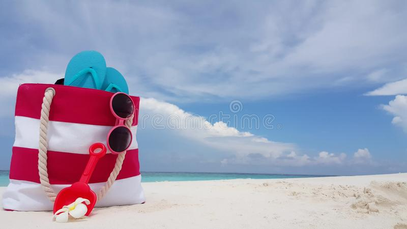 V02003 Maldives beautiful beach background white sandy tropical paradise island with blue sky sea water ocean 4k bag royalty free stock photography