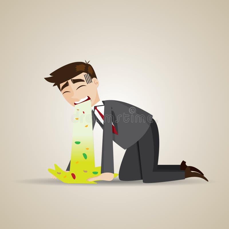 Vômito do homem de negócios dos desenhos animados no assoalho ilustração royalty free
