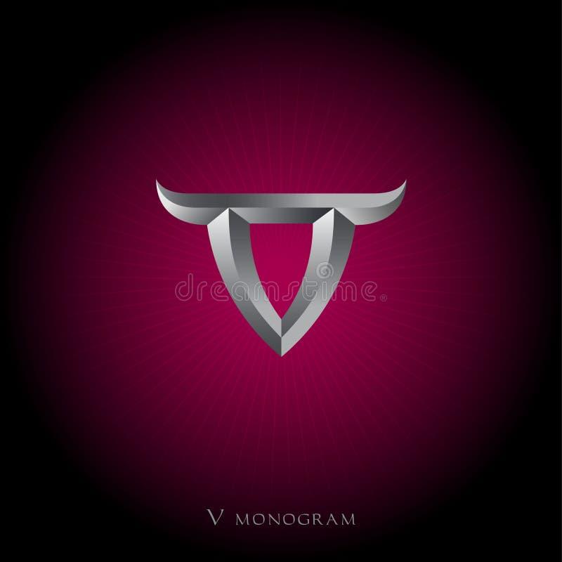 V monogram Viking logo Metalu list z rogami ilustracja wektor