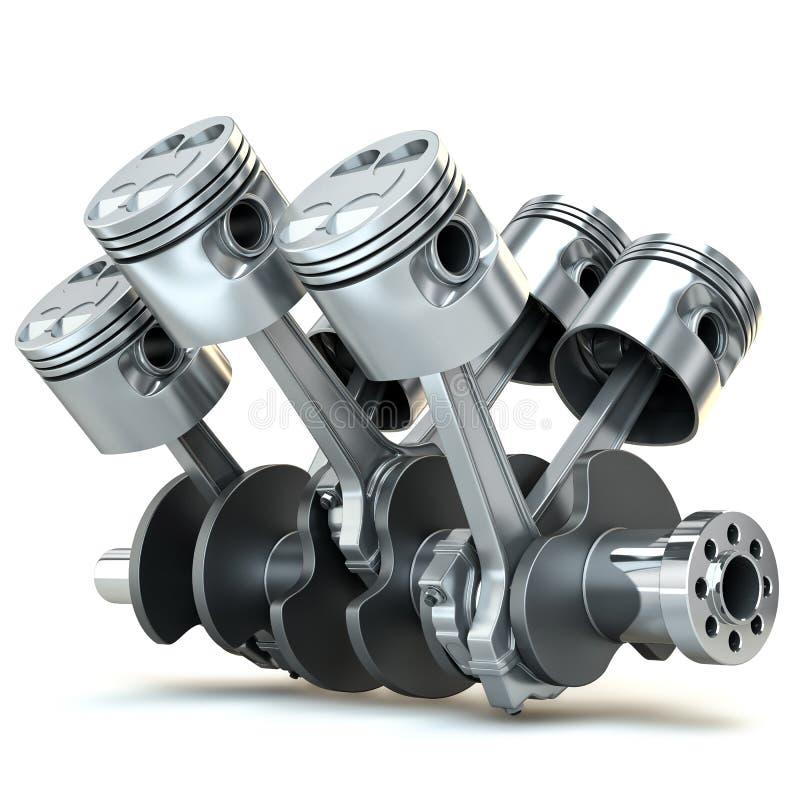 V6 motorzuigers. 3D beeld.