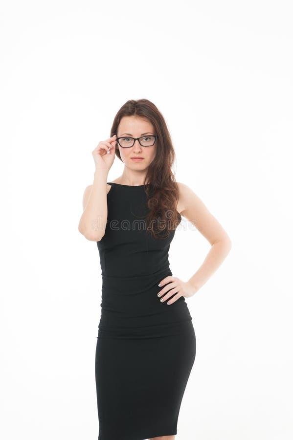 ?v?nement officiel r o r Femme dans le blanc de robe formelle photos stock