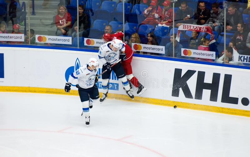 V. Nikulin 22 boarding N. Burstrom 34. PODOLSK, RUSSIA - SEPTEMBER 10, 2017: V. Nikulin 22 boarding N. Burstrom 34 on hockey game Vityaz vs Barys on 10th Russia stock image