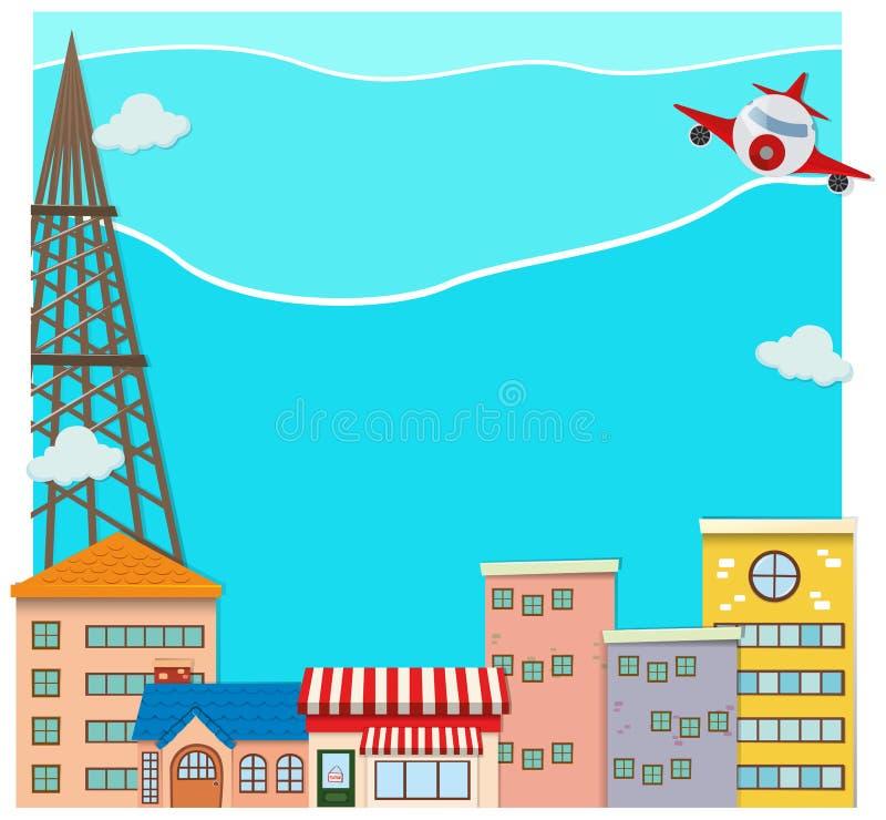 Vôo do avião sobre a cidade ilustração royalty free