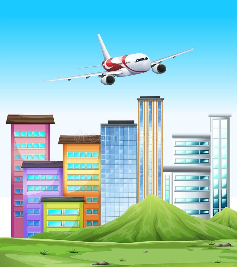 Vôo do avião sobre a cidade ilustração stock