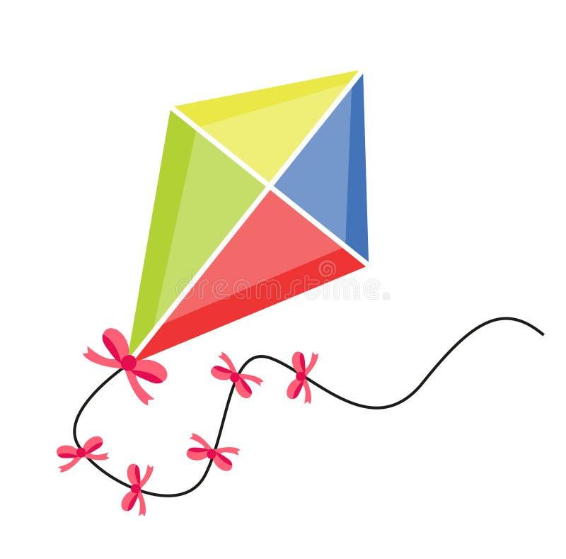 Vôo do papagaio ícone liso, estilo dos desenhos animados Isolado no fundo branco Ilustração do vetor, clipart ilustração stock